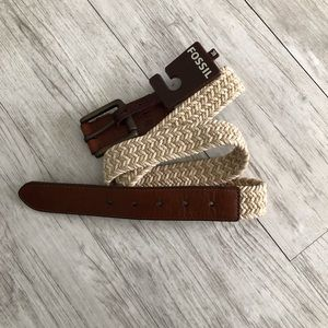 Fossil leather trim and cream braided belt